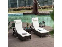 Rattan Reclining Sun Lounger With Side Table New