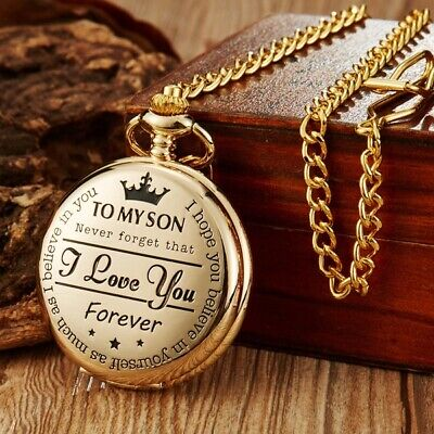 Golden/Black/Silver To My Son Quartz Pocket Watch Necklace Chain Boy Xmas -