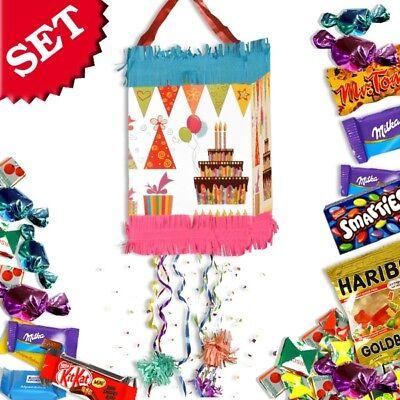 Pinata Kindergeburtstag +Süßigkeiten im Set, Zugpinata Happy Birthday Partyset