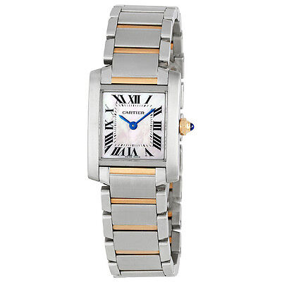 Cartier Tank Francaise 18k Rose Gold and Steel Pink Mother of Pearl Ladies