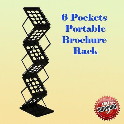 6 Pocket Literature Magazine Catalog Brochure Rack Holder Portable Trade (used)