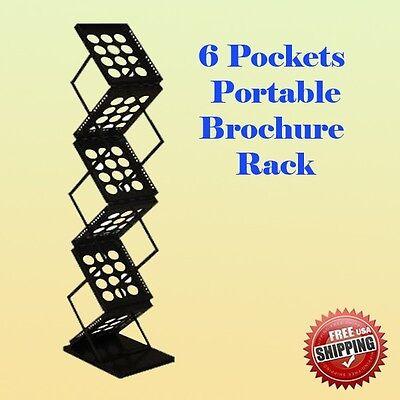 6 Pocket Literature Magazine Catalog Brochure Rack Holder Portable Trade New