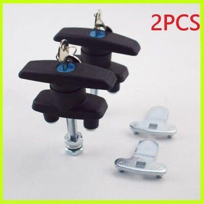 2pcs T Handle Latchlock Keyed Alike Black Coated For Cabinets Durable Useful