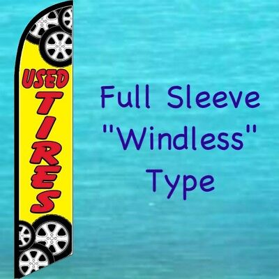 Used Tires Windless Feather Flag Tall Curved Top Advertising Banner Sign
