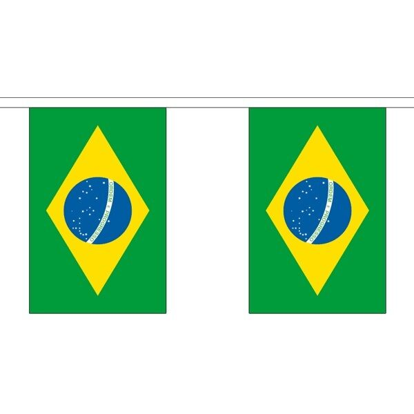 Brazil Giant Huge Large Flag Bunting - 18m Metres 30 Flags - Polyester