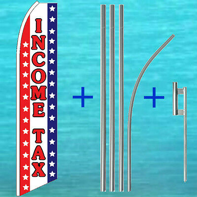 Income Tax Flutter Flag Pole Mount Kit Feather Swooper Banner Advertising Sign