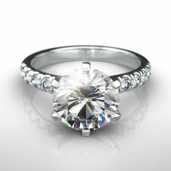 Round Brilliant Diamond Ring Si1 1.75 Carat 6 Prong Real 14 Karat White Gold