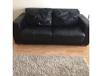 Black leather bed settee