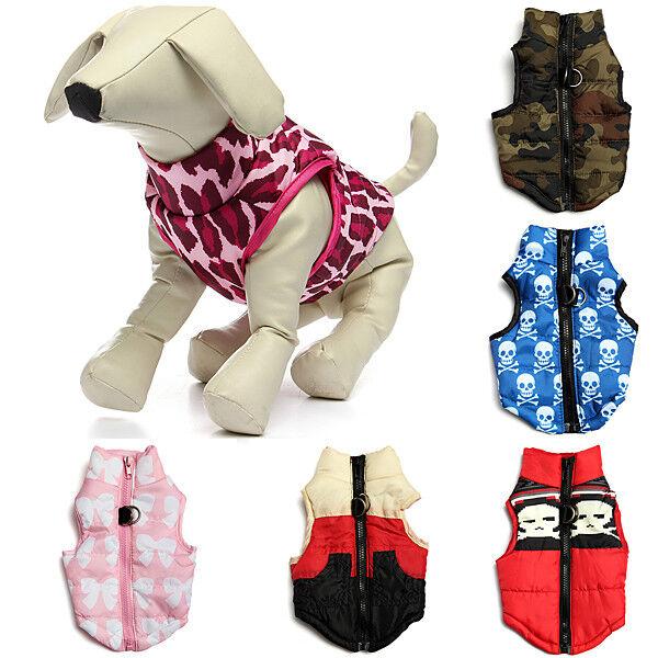 Pet Dog Cat Warm Cotton Padded Vest Jacket Puppy Harness Sof