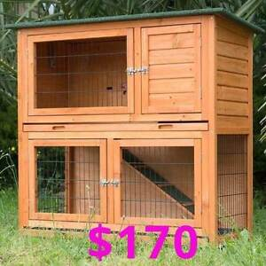 Large 2 Storey Wooden Hutch on legs with plastic pull out trays Osborne Port Adelaide Area Preview