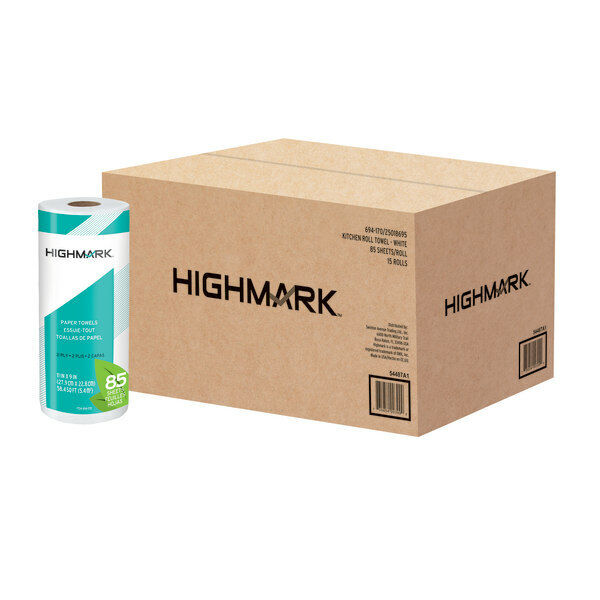 """Highmark Brand 2-Ply Paper Towels, 11"""" x 9"""", 85 Sheets/Roll, 15 Rolls"""