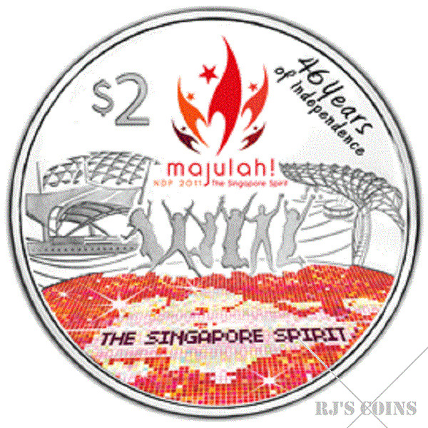 Singapore 2011 $2 Cupro-Nickel Proof-Like Coin marking 46 Years of Independence issued by the MAS