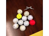 Job lot of golf balls tees and training sport equipment