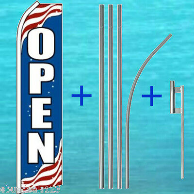 Open Patriotic Flutter Flag 15 Tall Pole Mount Kit Swooper Feather Banner 1212