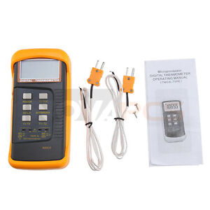 Dual Two Channel 2 K-Type Digital Thermometer Thermocouple Sensor 1300°C 2372°F