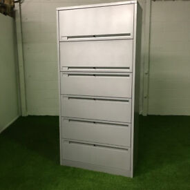 Silver Flip Top Side Filer Cabinet 6 Draws 2100x1000x450mm 47 available