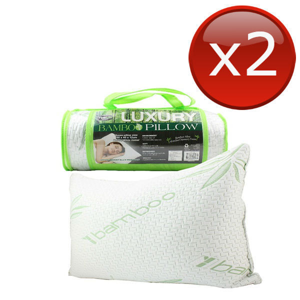 4 X Luxury Bamboo Pillow Queen Memory Foam Fabric Fibre Care Contour 60 X 40cm