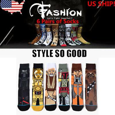 US! 2019 6 Pairs Star Wars Cartoon Cotton Men Women Sock Casual Long Male Socks