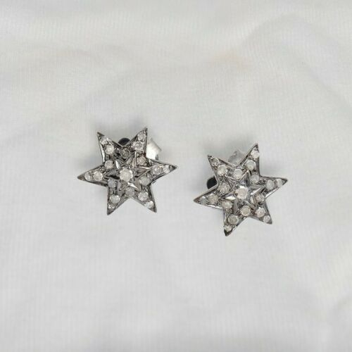 925 Sterling Silver Rose Cut Diamond Earrings Victorian Look Star Stud Jewelry