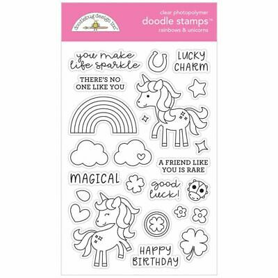 Scrapbooking Crafts Doodlebug Clear Stamp Set Rainbows & Unicorns Magical Lucky