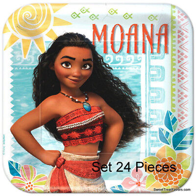 Moana Beach Party Favors Party Birthday Plates Lunch Dinner Movie LUAU 24 PIECES - Beach Party Plates