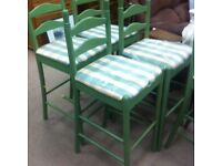 Kitchen Hi Stools / green gingham upholstery