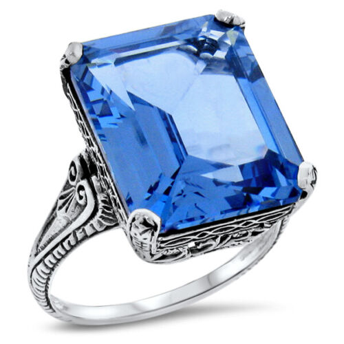 ANTIQUE STYLE 12 CARAT SIM LONDON BLUE TOPAZ 925 STERING SILVER RING,       #963