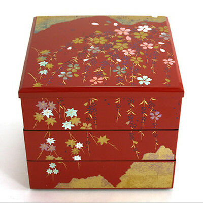"Japanese ""JUBAKO"" Lacquer Stack 3 Tiers 5.5""H Bento/Accessory Box/Made in Japan"