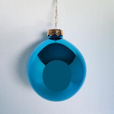 "WHITEHURST SET OF 6 GLASS BLUE TURQUOISE SHINY BALLS CHRISTMAS ORNAMENTS 2.75"""
