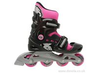 Worn twice No Fear Inline Skates Pink and Black Size 5.