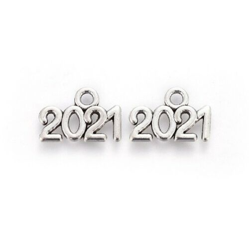 10 Number Charms 2021 Pendants Antiqued Silver Graduation Year New Years