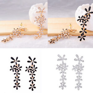 Luxury-Fashion-Rhinestone-Crystal-Snowflake-Flower-Long-Dangle-Earrings-Ear-Stud
