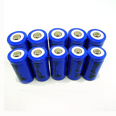 10pc 16340 CR123A LR123A 3.7V 1200mAh Rechargeable Li-Ion Battery Batteries Cell