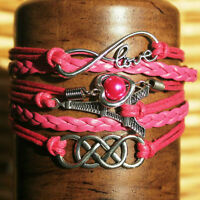 NEW - Infinity Cross Believe Angel Wings Charm Leather Bracelet