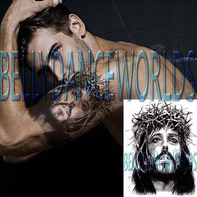 SPIRITUAL JESUS CHRIST CHRISTIAN TEMPORARY TATTOO UPPER ARM BICEP BODY STICKER