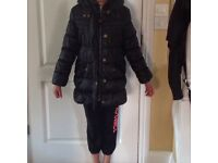 M &S Indigo girls winter coat with hood (9-10yrs)