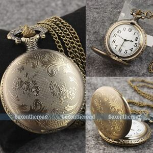 Steampunk-Antique-Vintage-Bronze-Flower-Pendant-Quartz-Watch-Chain-Necklace-Gift