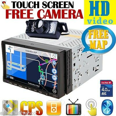 "7"" Double 2 DIN Car CD/DVD Player Radio IPOD Navigation GPS USB/SD/BT H03 Camera on Rummage"