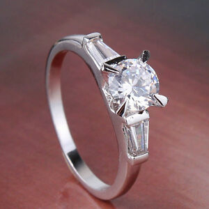 10K White Gold Filled Engagement Ring, Size 6.25, 8 - New