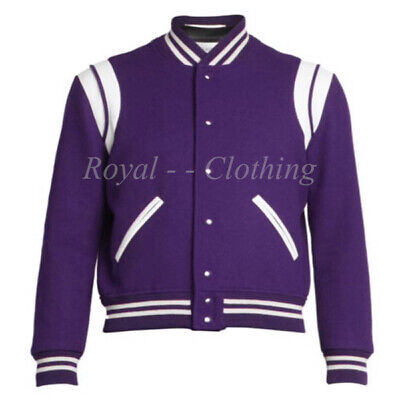 Vintage Style Varsity Letterman Baseball Collage Bomber Wool Leather Jacket