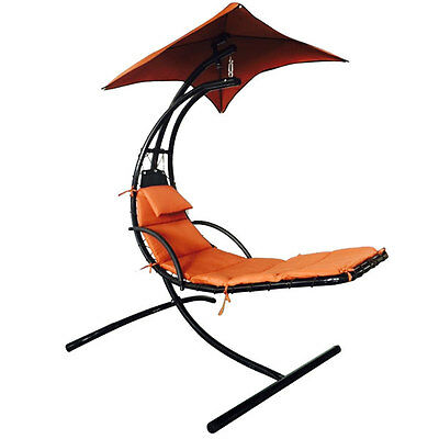 Hanging Chaise Lounger Chair Air Porch Swing Hammock Arc Stand Umbrella Canopy