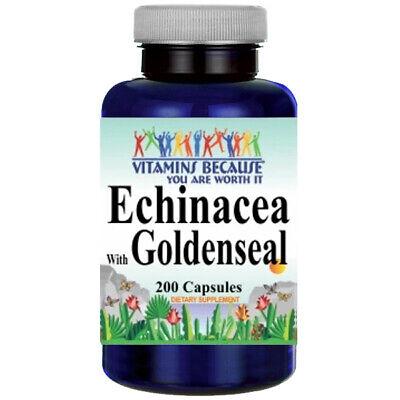 Echinacea and Goldenseal 450mg 200 Caps Echinacea angustifolia purpurea with Echinacea Goldenseal Capsules