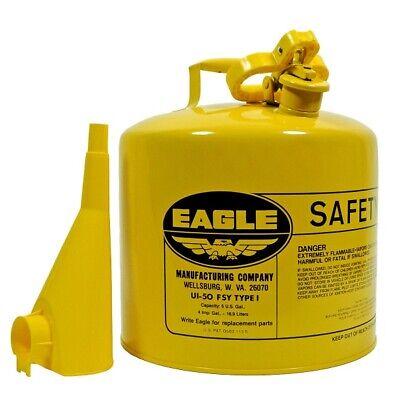 Eagle Mfg Ui-50-fsy 5 Gallon Type L Metal Safety Diesel Fuel Can W F-15 Funnel