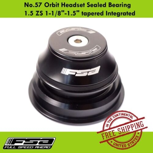 """FSA No.57 Orbit Headset Sealed Bearing 1.5 ZS 1-1/8""""-1.5"""" tapered Integrated"""