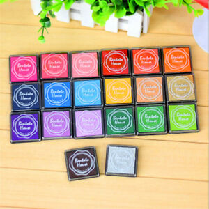 Set of 20 Colors Rubber Stamps Pigment Ink Pads For Paper Wood Fabric Craft UK