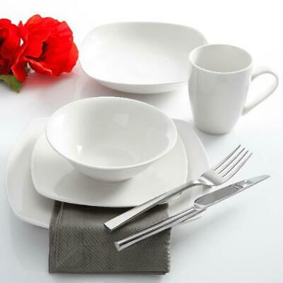 30-Piece Porcelain Dinnerware Set Square Dinner Plates Dish Service For 6 White ()