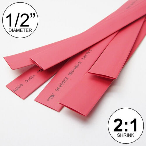 "1/2"" ID Red Heat Shrink Tube 2:1 ratio 0.5"" wrap (6x9""= 4 ft) inch/feet/to 13mm"