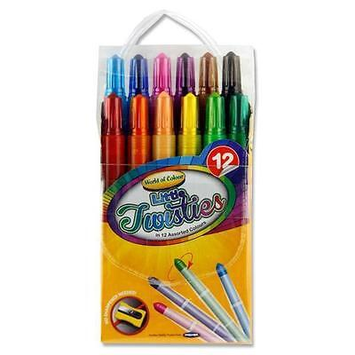 Crayons Twisters Kids Colouring Pens Markers 12 Colours School Stationery