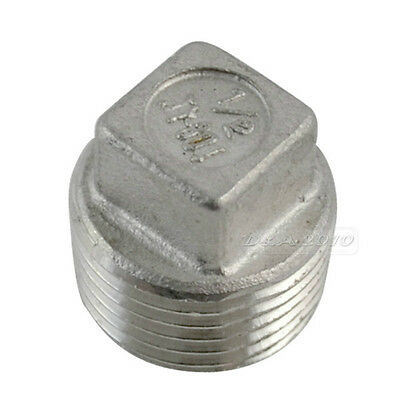 Stainless Steel 12 Malleable Square Male Head Pipe Fitting Plug Threaded Ss304