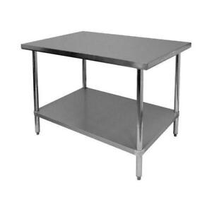 New Gsw 16 Gauge 30 X48 Stainless Steel Flat Top Work Table Nsf Roved